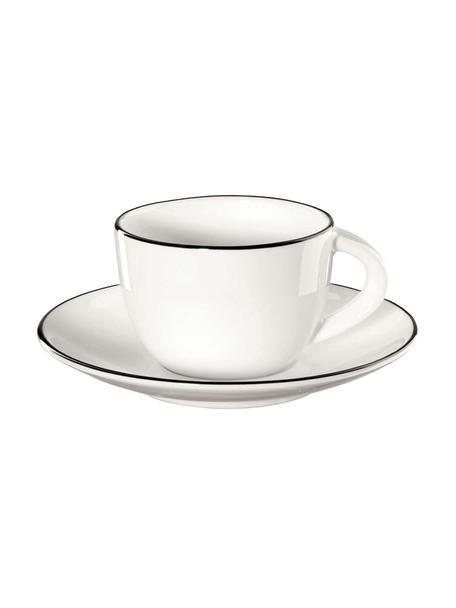Espressotassen mit Untertassen à table ligne noir mit schwarzem Rand, 4 Stück, Fine Bone China (Porzellan) Fine Bone China ist ein Weichporzellan, das sich besonders durch seinen strahlenden, durchscheinenden Glanz auszeichnet., Weiß Rand: Schwarz, Ø 6 x H 5 cm