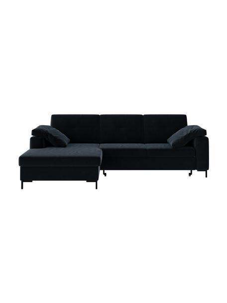 Sofá cama rinconero Moor, con espacio de almacenamiento, Tapizado: 100% poliéster impermeabl, Estructura: madera dura, madera bland, Patas: madera pintada Alta resis, Azul oscuro, An 260 x F 162 cm