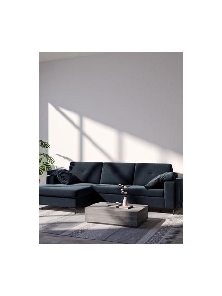 Sofa narożna z funkcją spania i miejscem do przechowywania Moor, Tapicerka: 100% poliester z systemem, Stelaż: drewno liściaste, drewno , Nogi: drewno lakierowane Dzięki, Ciemny niebieski, S 260 x G 162 cm