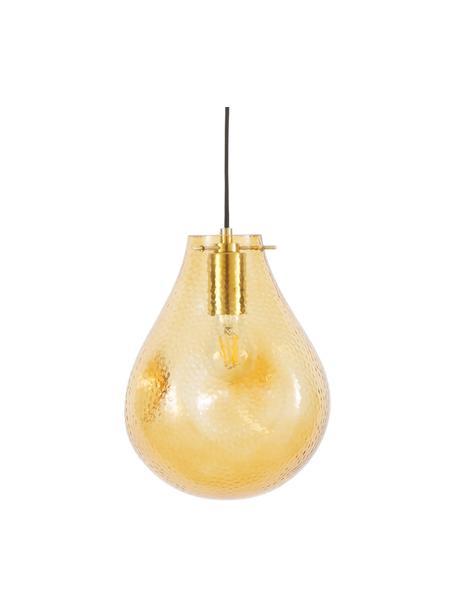 Lámpara de techo pequeña de vidrio Kedu, Pantalla: vidrio, Anclaje: metal galvanizado, Cable: cubierto en tela, Amarillo, Ø 23 x Al 29 cm
