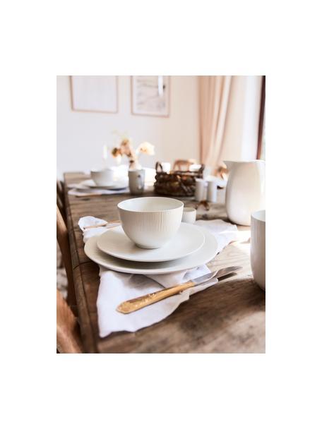 Handgemachte Speiseteller Sandvig mit leichtem Rillenrelief, 4 Stück, Porzellan, durchgefärbt, Gebrochenes Weiß, Ø 27 cm