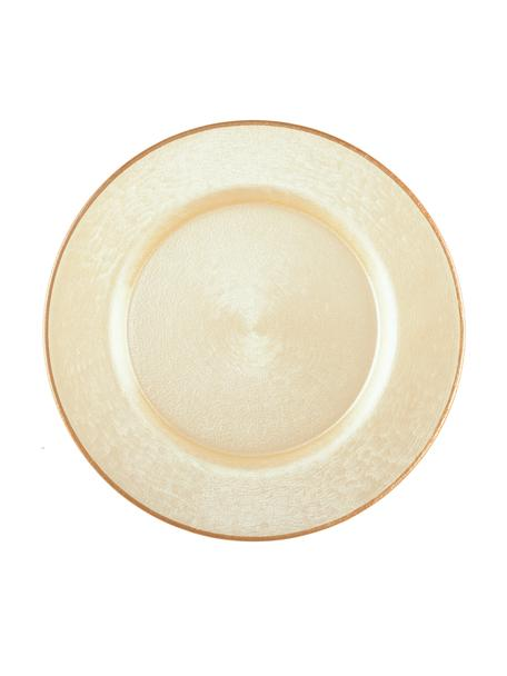 Glazen onderbord Vanilla in lichtbruin glinsterend, Glas, Lichtbeige, lichtbruin, Ø 33 cm