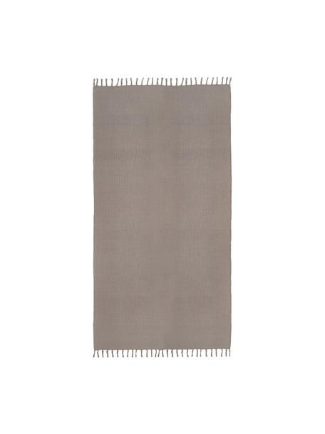 Katoenen vloerkleed Agneta, 100% katoen, Grijs, 50 x 80 cm