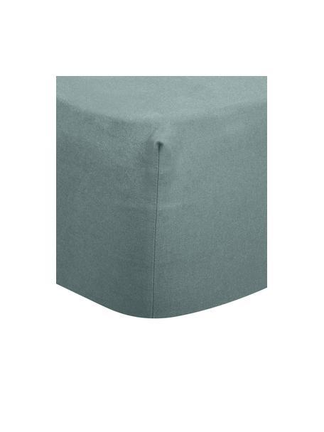 Lenzuolo con angoli in flanella verde Biba, Tessuto: flanella, Verde scuro, Larg. 90 x Lung. 200 cm