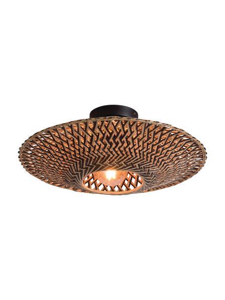 Boho plafondlamp Bali van bamboehout, Lampenkap: bamboe, Baldakijn: gecoat metaal, Beige, zwart, Ø 44 x H 12 cm