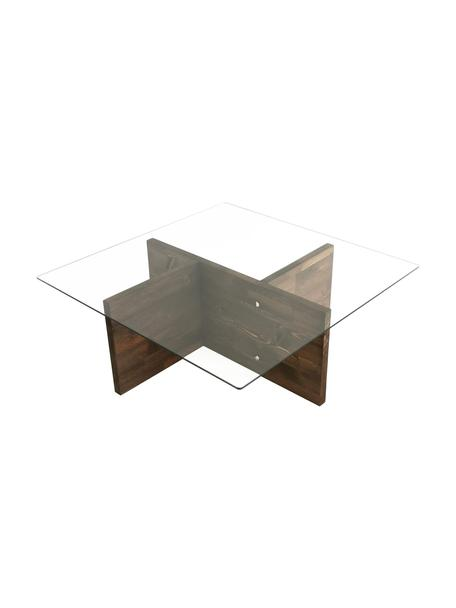 Stolik kawowy ze szklanym blatem Glory, Blat: szkło hartowane, Nogi: płyta wiórowa pokryta mel, Brązowy, transparentny, S 90 x W 40 cm
