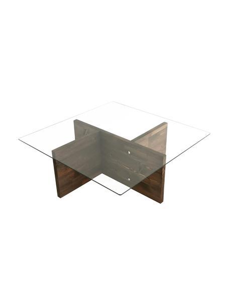 Tavolino da salotto con piano in vetro Glory, Gambe: truciolare melaminico, Marrone, trasparente, Larg. 90 x Alt. 40 cm