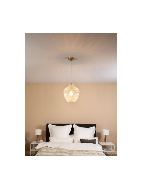 Lámpara de techo pequeña de vidrio Lee, Pantalla: vidrio, Anclaje: metal cromado, Cable: plástico, Latón, transparente, Ø 27 x Al 33 cm