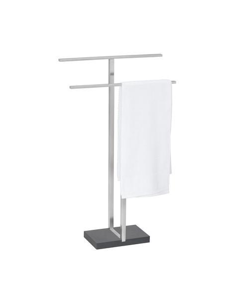 Handtuchhalter Menoto aus Metall, Halter: Rostfreier Stahl, Sockel: Kunststein, Schwarz, Silberfarben, matt, 50 x 86 cm