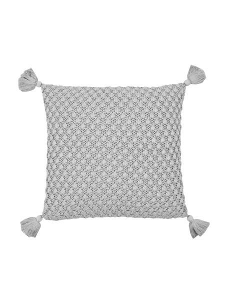 Gebreide kussenhoes Astrid met kwastjes in grijs, 100% katoen, Grijs, 50 x 50 cm