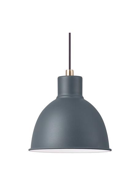 Kleine Pendelleuchte Pop in Grau, Lampenschirm: Metall, beschichtet, Dekor: Metall, Baldachin: Kunststoff, Anthrazit, Ø 21 x H 24 cm