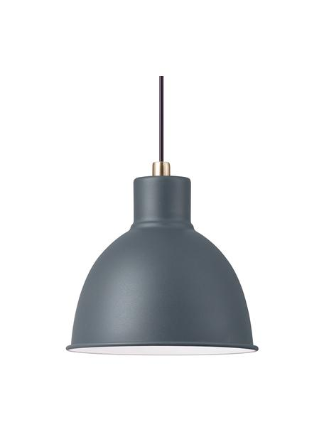 Kleine hanglamp Pop in grijs, Lampenkap: gecoat metaal, Baldakijn: kunststof, Antraciet, Ø 21  x H 24 cm