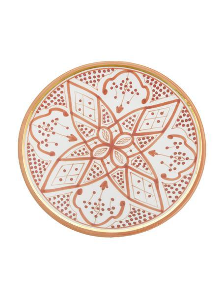 Handgemachter marokkanischer Speiseteller Assiette mit Goldrand, Keramik, Orange, Cremefarben, Gold, Ø 26 x H 2 cm