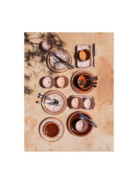 Handgemaakt Marokkaans dinerbord Assiette met goudkleurige rand, Keramiek, Oranje, crèmekleurig, goudkleurig, Ø 26 x H 2 cm