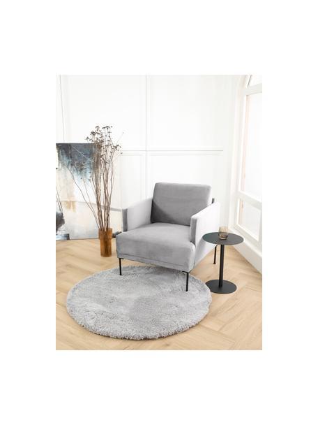 Fluwelen fauteuil Fluente in lichtgrijs met metalen poten, Bekleding: fluweel (hoogwaardig poly, Frame: massief grenenhout, Poten: gepoedercoat metaal, Lichtgrijs, B 74 x D 85 cm