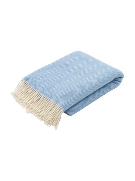 Coperta in lana color azzurro con motivo a spina di pesce e frange Triol-Mona, 100% lana, Azzurro, Larg. 140 x Lung. 200 cm