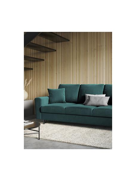 Sofa rozkładana z aksamitu z miejscem do przechowywania Moghan (3-osobowa), Tapicerka: aksamit poliestrowy Dzięk, Stelaż: lite drewno sosnowe, skle, Nogi: metal lakierowany, Zielony, czarny, S 235 x G 100 cm