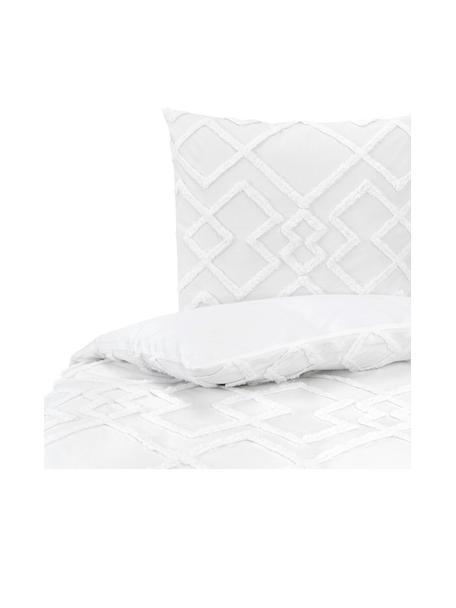 Baumwollperkal Bettdeckenbezug Faith mit getufteter Verzierung, Webart: Perkal Fadendichte 180TC,, Weiss, 160 x 210 cm