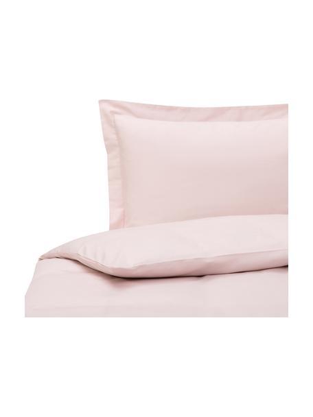 Parure copripiumino in raso di cotone rosa con orlo rialzato Premium, Rosa, 155 x 200 cm