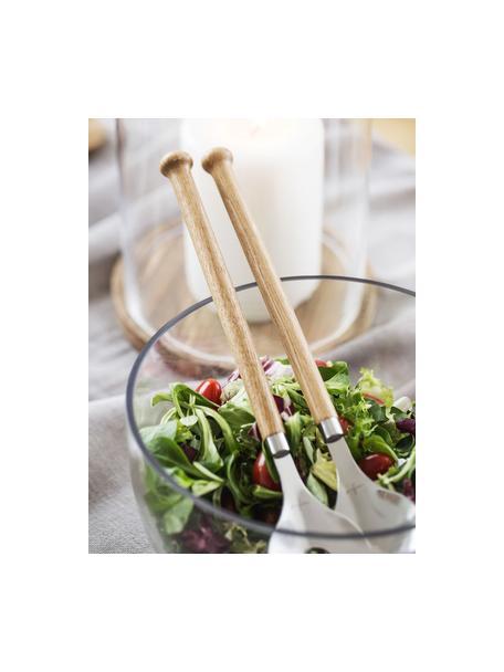 Saladebestek Henny met handvatten van eikenhout, 2-delig, Edelstaal, eikenhout, Eikenhoutkleurig, staalkleurig, 6 x 31 cm