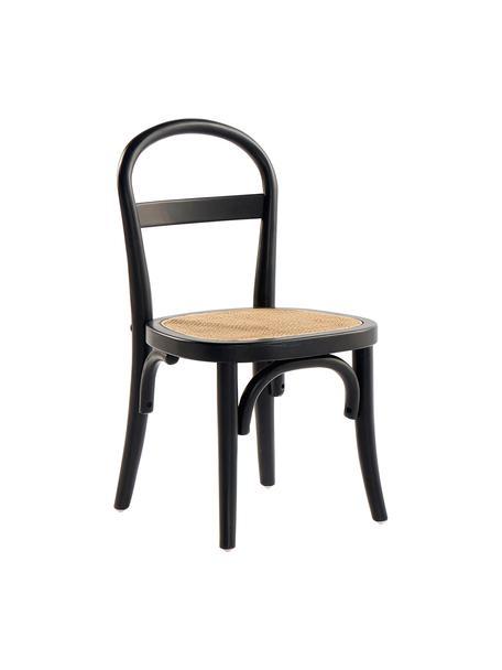 Holz-Kinderstühle Rippats mit Wiener Geflecht, 2 Stück, Gestell: Birkenholz, Sitzfläche: Rattan, Schwarz, Beige, B 33 x T 35 cm