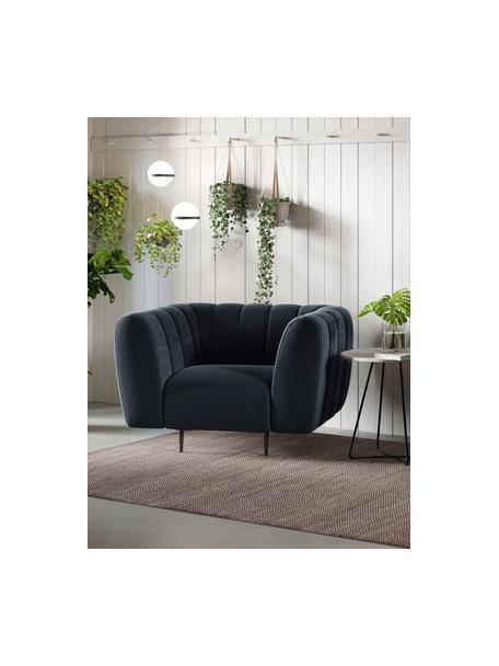 Fotel z aksamitu Shel, Tapicerka: 100% aksamit poliestrowy , Stelaż: twarde drewno, miękkie dr, Nogi: metal powlekany, Ciemny niebieski, S 110 x G 95 cm