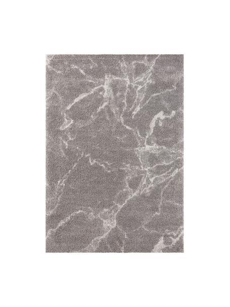 Pluizig hoogpolig vloerkleed Mayrin met gemarmerd patroon, Bovenzijde: 100% polypropyleen, Onderzijde: jute, Grijs, crèmekleurig, B 80 x L 150 cm (maat XS)