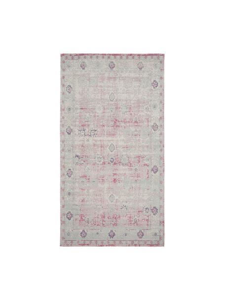 Vintage chenille vloerkleed Rimini in roze-lichtgrijs, handgeweven, Bovenzijde: 95% katoen, 5% polyester, Onderzijde: 100% katoen, Roze, grijs, B 80 x L 150 cm (maat XS)