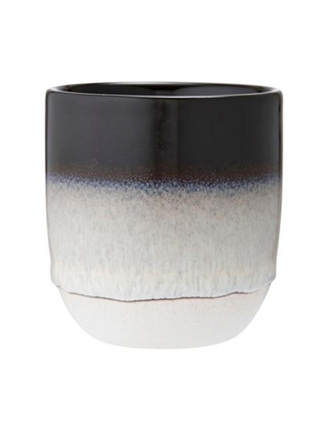 Handgemaakte beker Café met kleurverloop, 4 stuks, Keramiek, Zwart, Ø 8 x H 9 cm