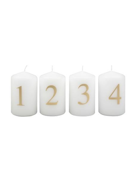 Adventskerzen Aven H 9 cm, 4 Stück, Paraffinwachs, Weiß, Goldfarben, Ø 6 x H 9 cm