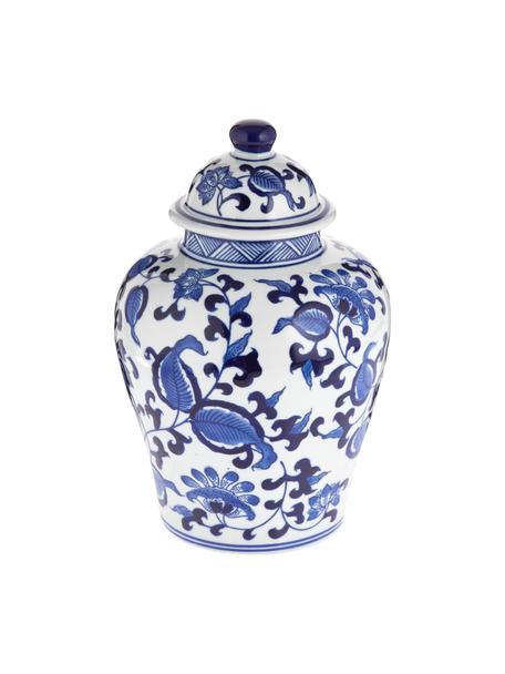 Deckelvase Annabelle aus Porzellan, Porzellan, Blau,Weiss, Ø 16 x 26 cm