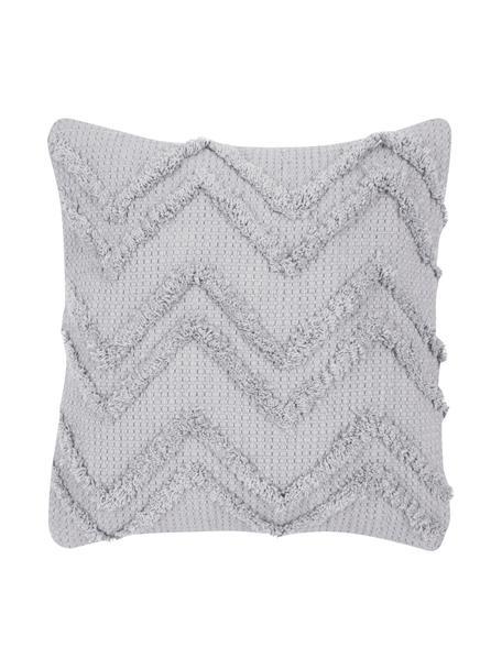 Federa arredo con motivo a zigzag Akesha, 100% cotone, Grigio, Larg. 45 x Lung. 45 cm