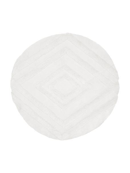 Rond fluffy hoogpolig vloerkleed Magda met verhoogd hoog-laag patroon, Bovenzijde: 100% polyester (microveze, Onderzijde: 55% polyester, 45% katoen, Beige, Ø 120 cm (maat S)
