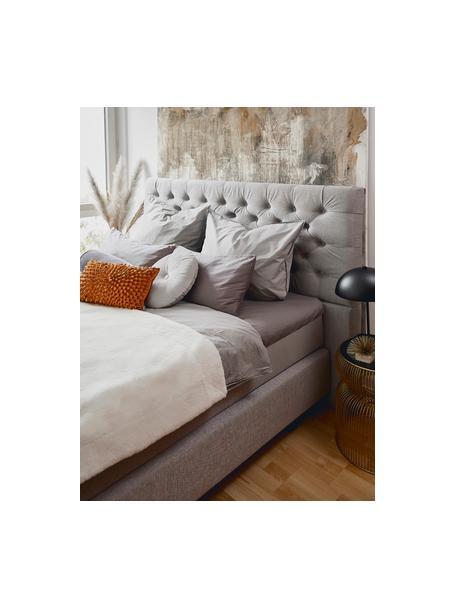 Letto Boxspring in velluto grigio con contenitore Premium Phebe, Materasso: nucleo a 5 zone di molle , Piedini: legno di betulla massicci, Grigio chiaro, 140 x 200 cm