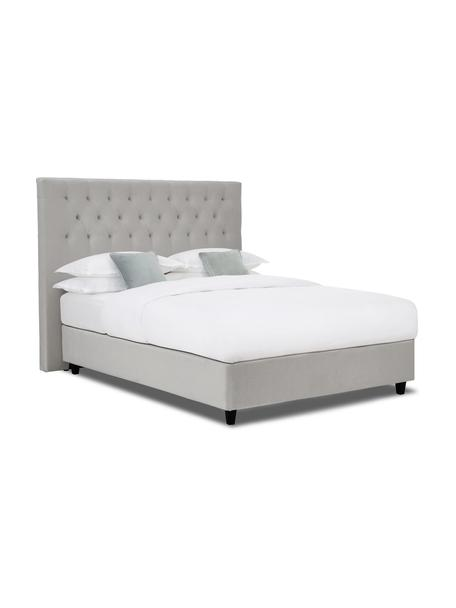 Łóżko kontynentalne z aksamitu premium Phoebe, Nogi: lite drewno brzozowe, lak, Aksamitny szary, 140 x 200 cm