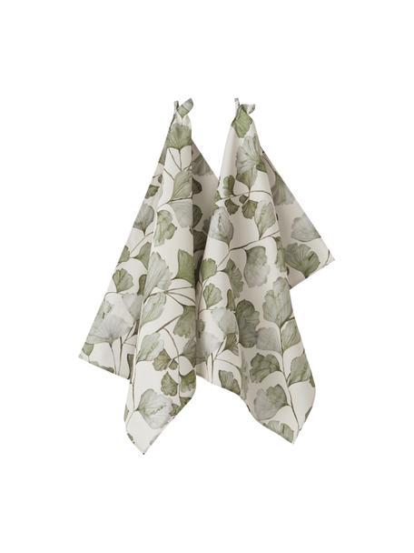 Strofinaccio con motivo foglie Gigi 2 pz, 100% cotone, Beige, verde, Larg. 50 x Lung. 70 cm