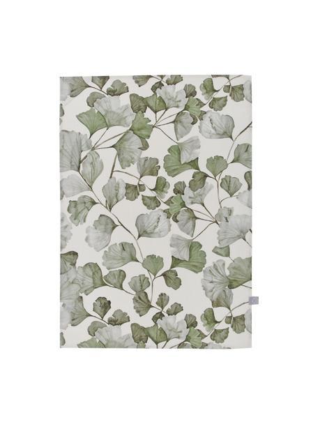 Katoenen theedoeken Gigi met bladmotief, 2 stuks, 100% katoen, Beige, groen, 50 x 70 cm