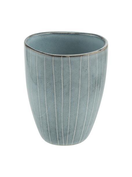 Handgemaakte beker Nordic Sea van keramiek, 6 stuks, Keramiek, Grijs- en blauwtinten, Ø 8 x H 10 cm