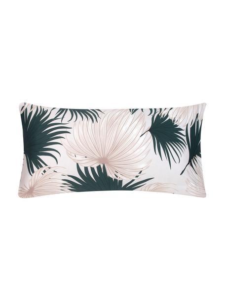 Baumwollsatin-Kopfkissenbezüge Aloha mit Palmenblättern, 2 Stück, Webart: Satin Fadendichte 210 TC,, Vorderseite: Beige, GrünRückseite: Beige, 40 x 80 cm