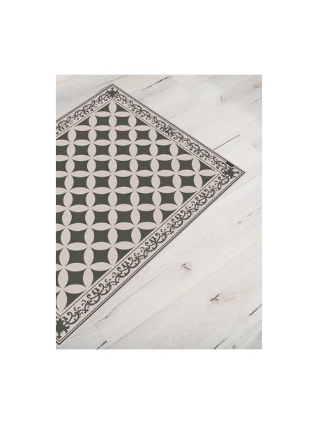 Vlakke vinyl vloermat Chadi in kaki / beige, antislip, Recyclebaar vinyl, Kakigroen, beige, 65 x 85 cm