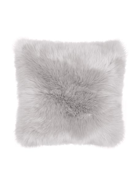 Federa arredo in soffice pelliccia sintetica Mathilde, Retro: 100% poliestere, Grigio chiaro, Larg. 40 x Lung. 40 cm