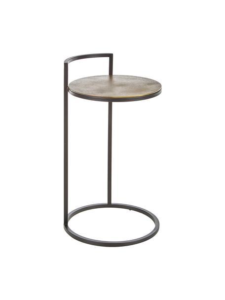 Tavolino rotondo in metallo Circle, Piano d'appoggio: alluminio rivestito, Gambe: metallo verniciato, Ottone, finitura antica, nero, opaco, Ø 36 x Alt. 66 cm