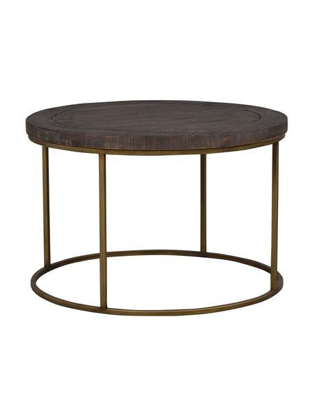 Stolik kawowy w stylu industrialnym Dalton, Blat: drewno sosnowe, barwione,, Stelaż: metal lakierowany, Szarobrązowy, odcienie mosiądzu, Ø 80 x W 53 cm