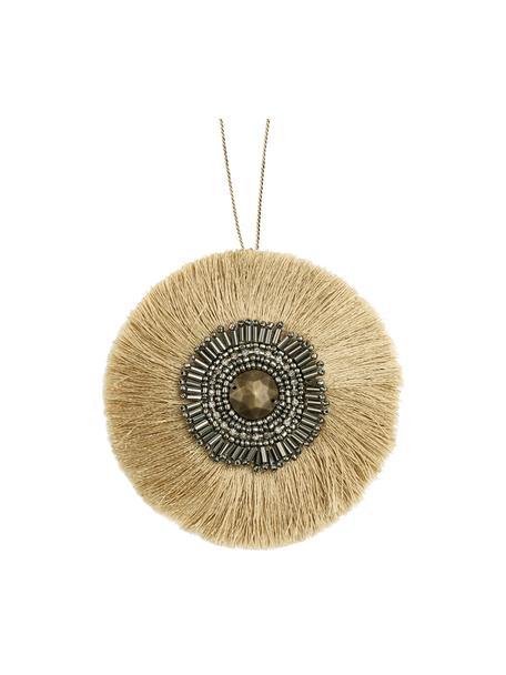 Etichetta regalo fatta a mano Gisol, 60% poliestere, 40% perle di vetro, Beige, dorato, nero, lucido, Ø 10 cm