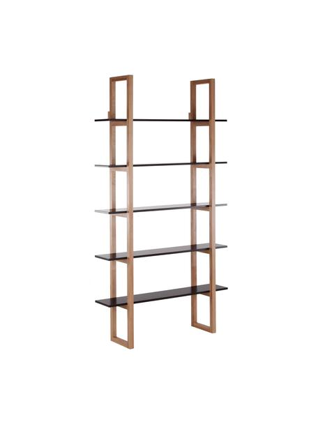 Estantería en madera de roble Store, Estructura: roble macizo, Estantería: tablero de fibras de dens, Roble, negro, An 110 x Al 200 cm