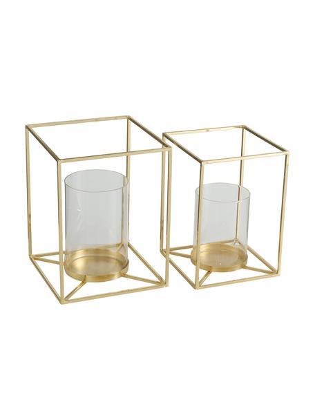 Windlichtenset Josi, 2-delig, Frame: aluminium, Windlicht: glas, Goudkleurig, Set met verschillende formaten