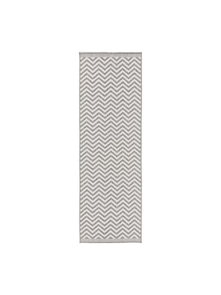 Passatoia reversibile da interno-esterno Palma, Grigio, crema, Larg. 80 x Lung. 250 cm