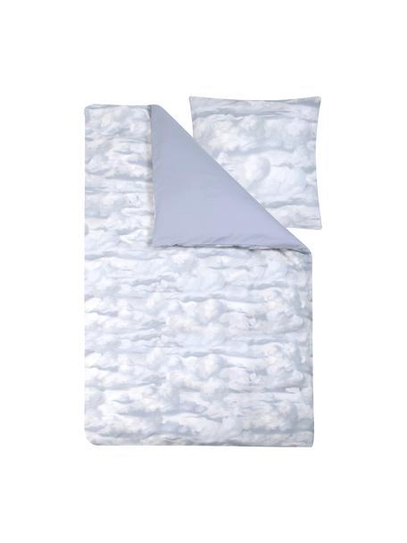 Baumwollsatin-Bettwäsche Cloudy mit Wolkenprint, Webart: Satin Fadendichte 210 TC,, Hellblau, Weiß, 135 x 200 cm + 1 Kissen 80 x 80 cm