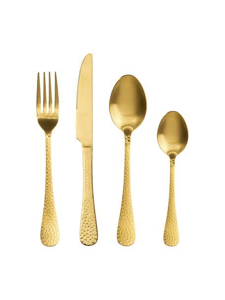 Goudkleurige bestekset Baronet met gehamerde handvatten, 4-delig, Gecoat edelstaal, Messingkleurig, Set met verschillende formaten