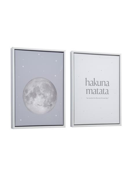 Set 2 stampe digitali incorniciate Ludmila, Cornice: legno, Immagine: tela, pannello di fibra a, Bianco, multicolore, Larg. 30 x Alt. 42 cm